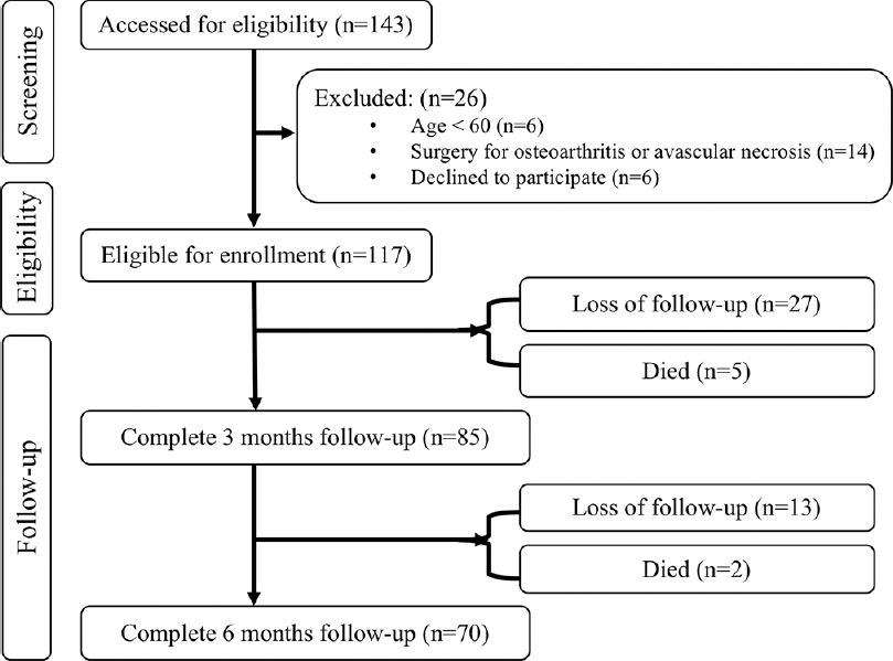 Figure 1: flowchart depicting the number of patients who were assessed for eligibility, who were enrolled, who completed follow-ups